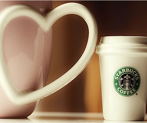 cup, heart, and starbucks image