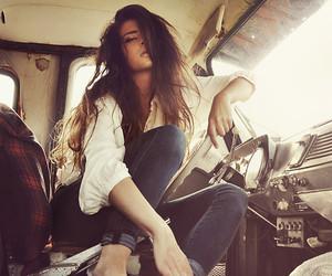 brunette, car, and grunge image