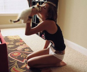 cat, girl, and skinny image