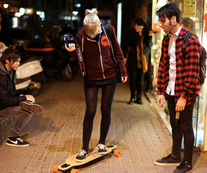 boy, girl, and longboard image
