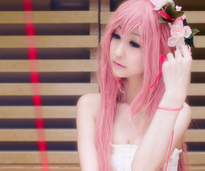 flower crown, girl, and pink image