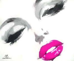 art, lips, and Marilyn Monroe image