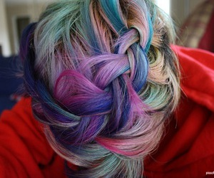 hair, braid, and colors image