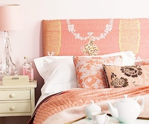 bedroom, home decoration, and color peach image