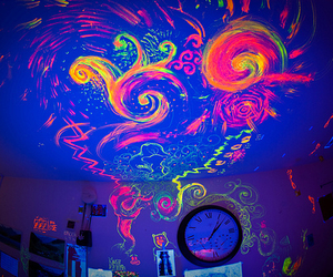 neon, room, and colors image