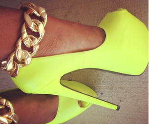 shoes, heels, and yellow image