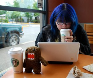 blue hair, domo, and laptop image