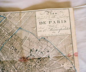paris, map, and vintage image