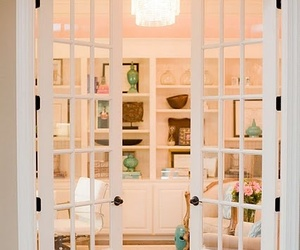 home decoration, workspace, and color peach image