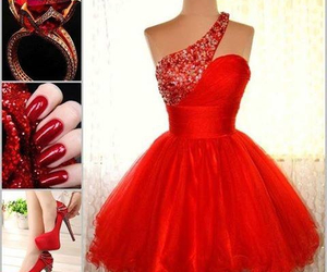 red, dress, and moda image