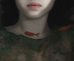 fish, girl, and lips image