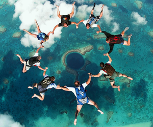 skydiving, sky, and friends image