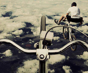 bike, sky, and clouds image