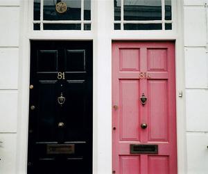 door, pink, and black image