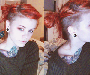gauges, girl, and red hair image