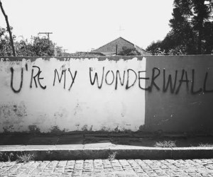 wonderwall, oasis, and wall image