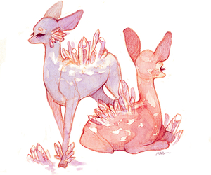 art, deer, and crystal image