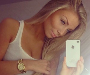 girl, blonde, and iphone image