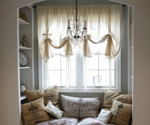 courtains, pillows, and shelves image
