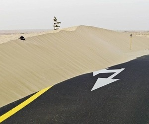 road, desert, and sand image