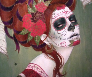 skull, catrina, and sugar skull image
