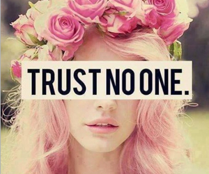 beautiful girl, pink hair, and Trust No One image