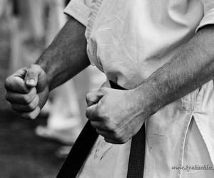 black & white, fist, and karate image