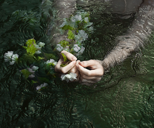 flower, girl, and underwater image
