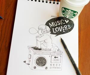 music, starbucks, and coffee image