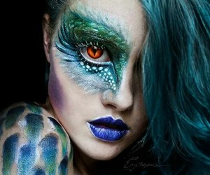 makeup, art, and dragon image