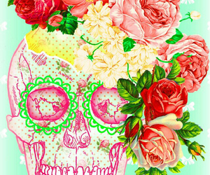 pink, skull, and flowers image