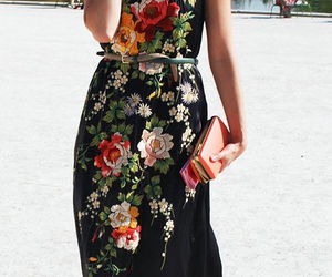beautiful dress, dress, and flowers image