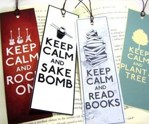 book, keep calm, and bookmark image