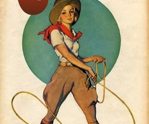 country, Cowgirl, and illustration image