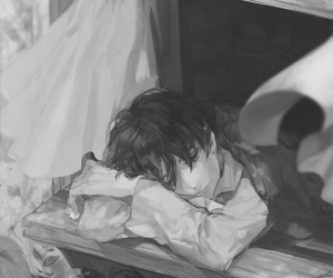 anime, sad, and monchrome image