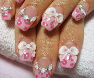 nails, kawaii, and bow image