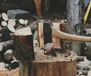 wood, axe, and nature image