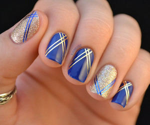 blue, nail, and nail polish image