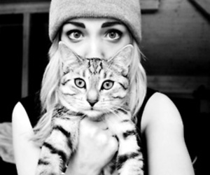 cat, girl, and grey image