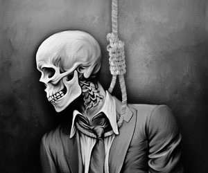 black and white, hang, and suicide image