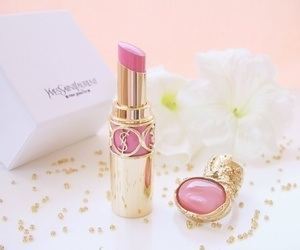 pink, lipstick, and YSL image