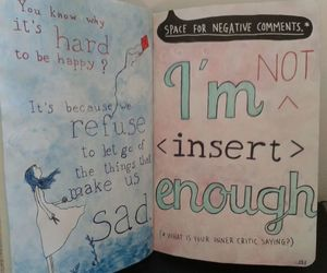 sad, wreck this journal, and inner critic image