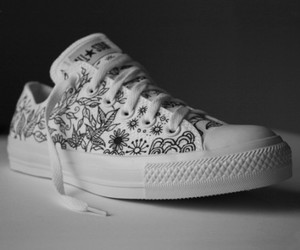 art, black and white, and converse image