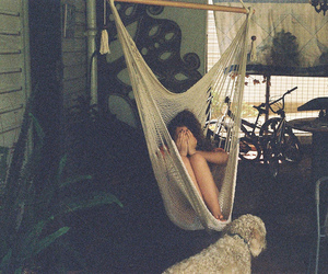 girl, hammock, and vintage image