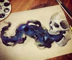 skull, art, and galaxy image
