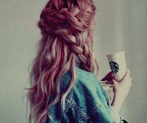 hair, starbucks, and braid image