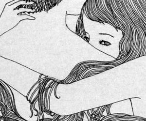 art, hug, and beauty image