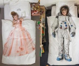 bed, princess, and boy image