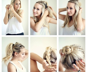 blonde, hairstyle, and knot image