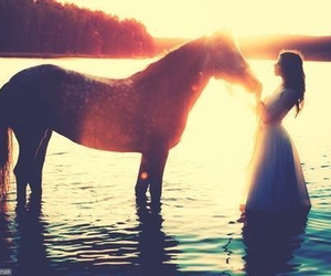 horse, girl, and water image